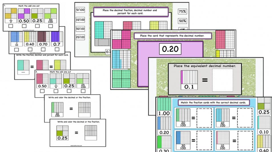Decimals, Decimal fractions, Percentages – print and digital