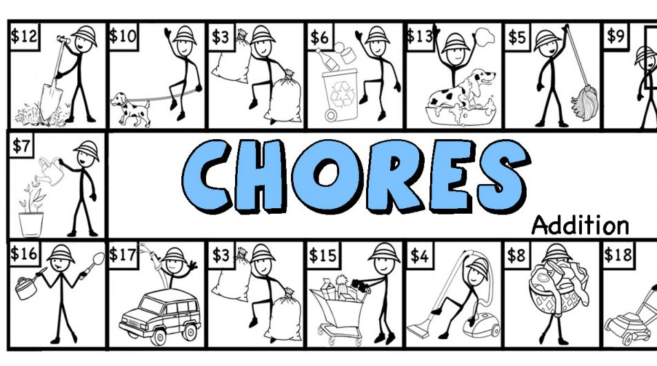 Chores!- A game to practice Addition, regrouping, and place value.  (+google slides version)