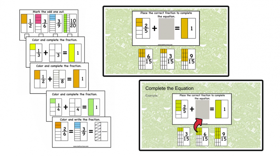 Fractions Activity Cards – equivalence, compare, complete one, addition (print and digital)