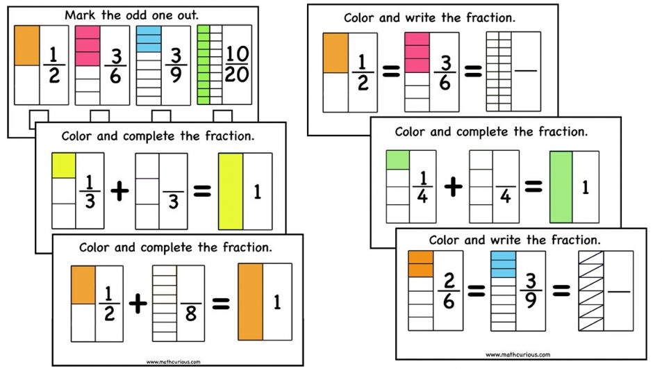 Fractions Activity Cards – equivalent fractions, complete one (+google slides version)
