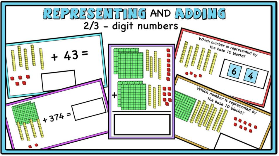 Representing and Adding 2/3-digit numbers using Base 10 Blocks (printable and digital centers)