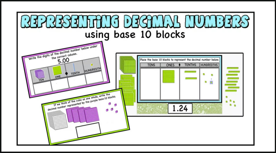 Representing Decimal Numbers using base 10 blocks. (Printable and Digital Activity Cards)