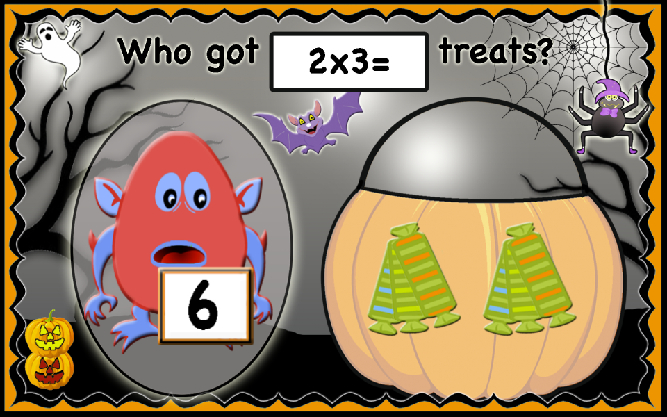 This image has an empty alt attribute; its file name is Halloween_multiplication_arrays-1.png