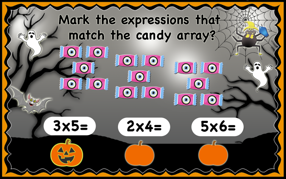This image has an empty alt attribute; its file name is Halloween_multiplication_arrays-3.png