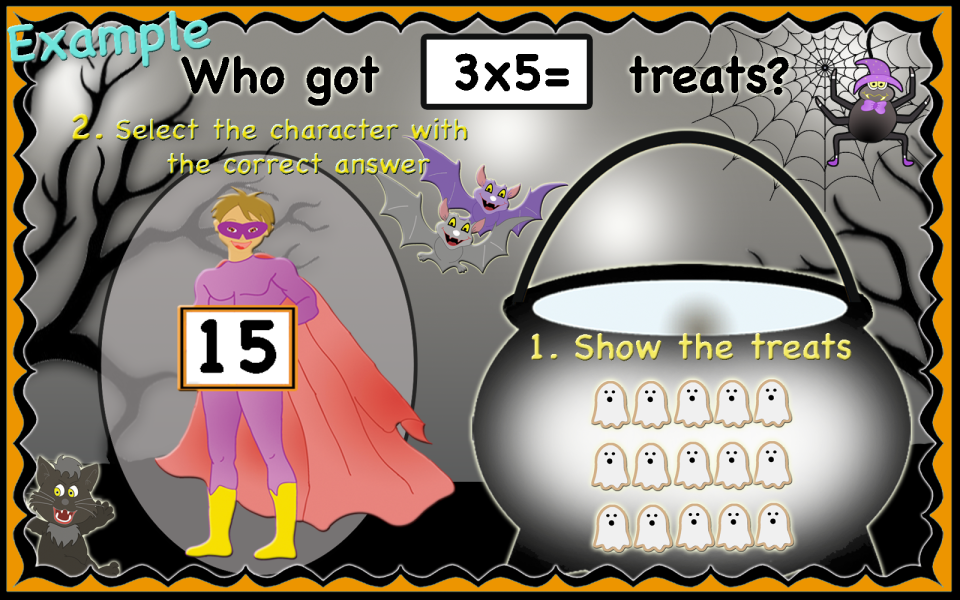 This image has an empty alt attribute; its file name is Halloween_multiplication_arrays.png
