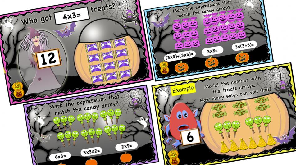 Halloween Activities -Multiplication Properties, arrays, facts