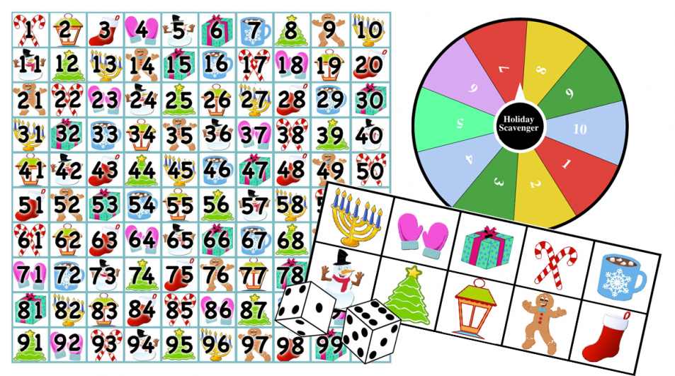 Holiday Scavenger Hunt Games – Addition/Subtraction/Place Value 1-100