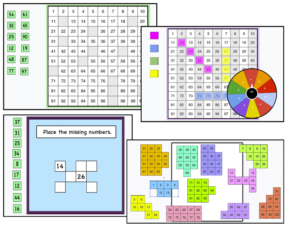 Build fluency with numbers 1-100. Missing numbers, puzzles, games, ideas – print and digital.