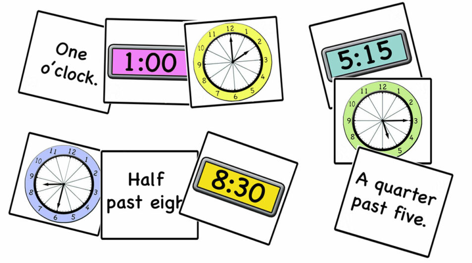 Time/clock cards for memory, card games and activities