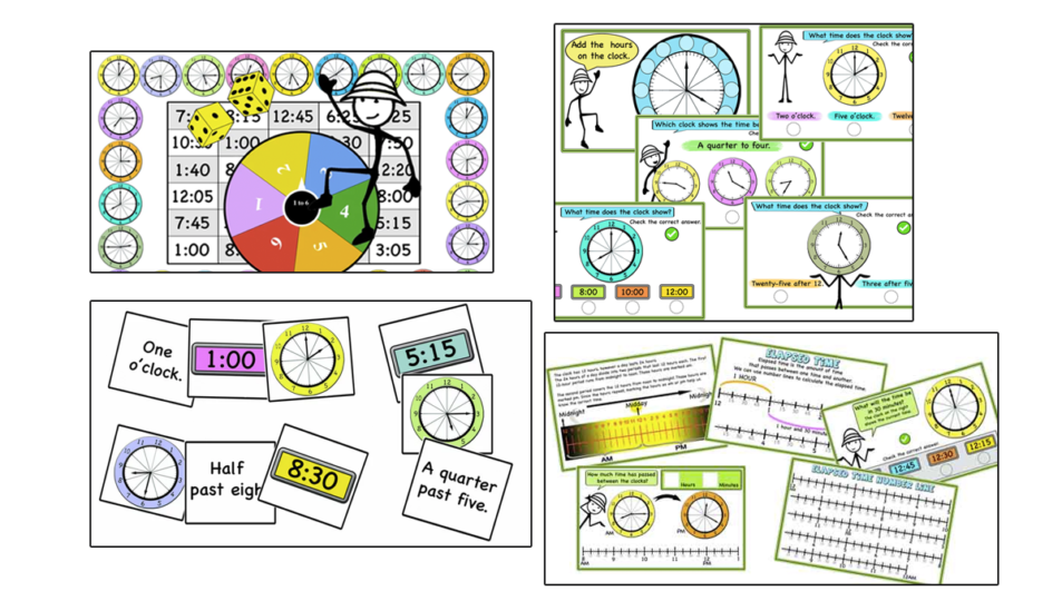 Teaching time, clock- All ideas, games and activity cards