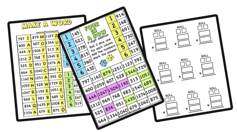 Multi-digit addition – games, activities- 2,3,4 digits